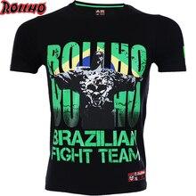 7f1ac3cfb0 BRASILEIRA Camisa Ginásio de Boxe Roupas Rashguard MMA Muay Thai luvas de  Levantamento de Peso da Aptidão T Shirt Homens Apertad.