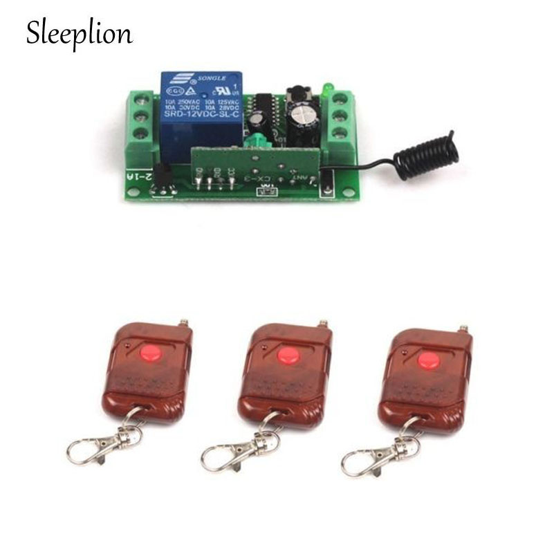 Sleeplion Universal Wireless DC 12V 10A 315/433MHz Remote Control Switch Transmitter with Wireless Remote Control Receiver