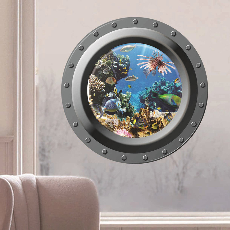 Sticker 3d Parete.Us 1 98 26 Off Shark Ocean View Wall Sticker 3d Porthole Window Bathroom Kids Room Decal Art Wall Sticker Home Decor Decoration Adesivi Parete In