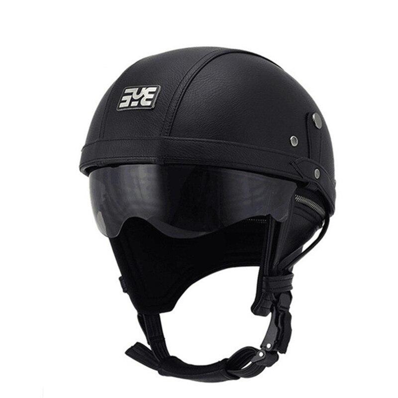 Leather Helmet Harley BLACK Motorcycle Open Face Half Helmet Chopper Biker Pilot Vespa with dark lens