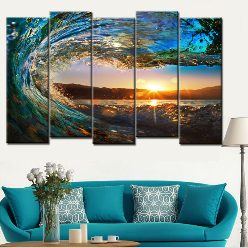 Hot sell 5 Piece large Canvas Wall Art huge wave Painting Modern ...