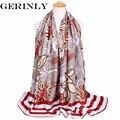 GERINLY Women Scarf Brand Luxury Stripe and Flowers Shawl Wrap Ladies Plus Size Viscose Scarves Fashion Foulard Warm Pashmina