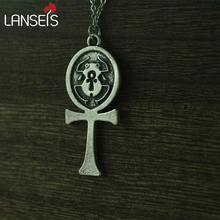 lanseis 1pcs Egyptian Ancient Silver Jewelry Scarab of Ankh Symbol Pendant necklace Stainless steel chain(China)