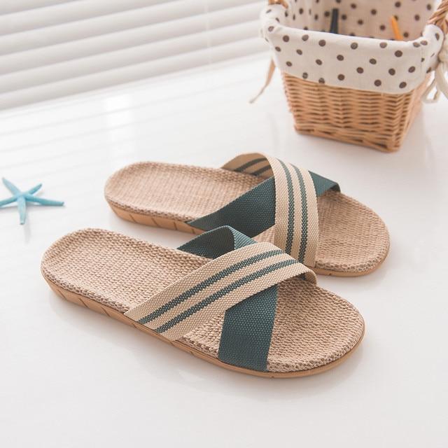 Hot Sale Men's Indoor And Outdoor Wear Non-slip Beach Linen Sandals And Flip Flops Men Slippers Large Size Zapatos De Hombre 30
