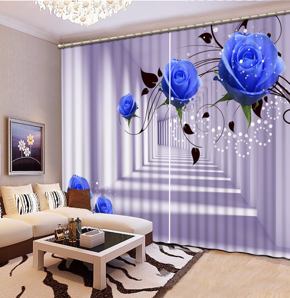 Customize 3d Curtains Rose Photo Curtains For Living Room Kitchen Blackout Curtains 3d Stereoscopic Curtains