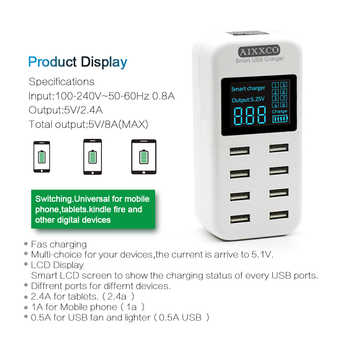 AIXXCO Smart USB Charger LED Display 8 Port 40W Fast Charging For iPhone iPad Samsung Huawei Xiaomi Mobile phone