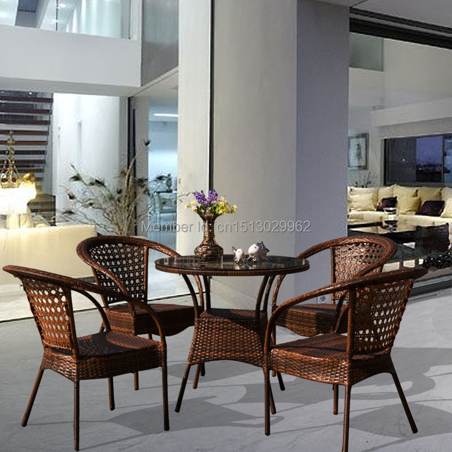 Round Coffee Table With Chairs.Us 211 0 European Style Brown Synthetic Rattan Round Coffee Table And Chairs Leisure Garden Tea Table Set Outdoor Furniture N150 Bbj On