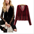 Fashion Europe New Velvet Deep V Collar Blouses Women Spring Sexy Lace Hollow Out Slim women's shirt Pullovers Femme Top