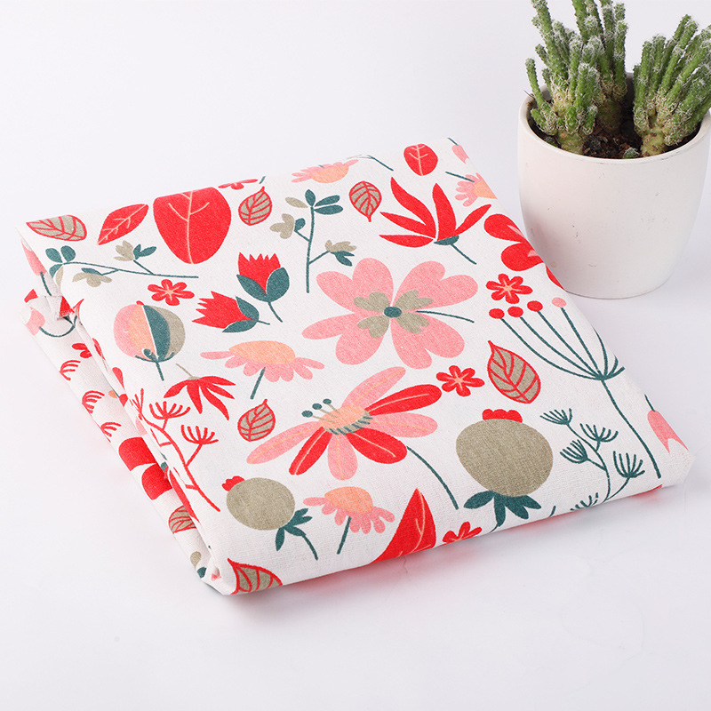 50X150CMPrinted cotton and linen cloth simple fragmented cloth Nordic ins lattice curtain sofa Linen Tablecloth manual DIY cloth in Fabric from Home Garden