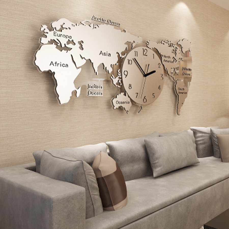 Large World Map Wall Clock Modern Design Living Room Background 3D Acrylic Stickers Metal Clocks Wall Watch Home Decor 115x55cm