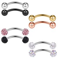 8PCS 20G Crystal Ferido& Shiny Ball Curved Barbell Eyebrow Ear Ring Body Piercing Jewelry 8mm 10mm