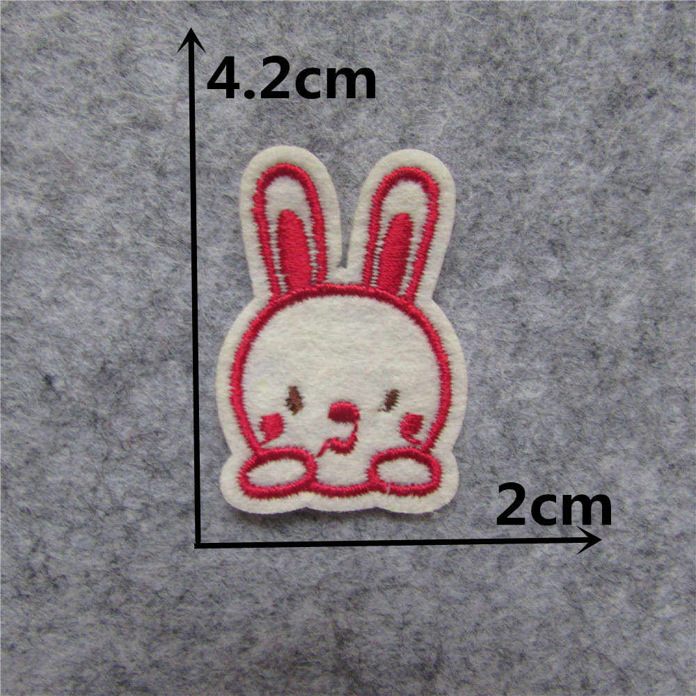 Cute Cartoon iron on patches Rabbit Animal thermo-stickers DIY Clothes Applique Badge Decorate Jacket bag hat embroidery Stripes