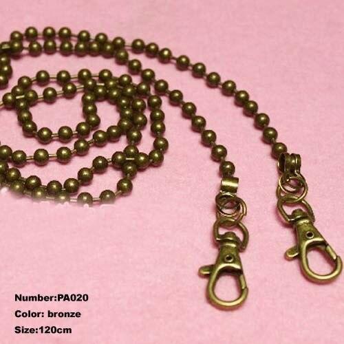 Free Shipping PA020 1pcs Purse Frame Hanger Chain 120cm Bronze Metal Clasps Purses Accessories Handles Handbags Diy Bag Parts
