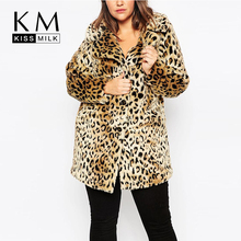 Kissmilk 2016 Women Plus Size Leopard Fur Side Pockets 3XL 4XL 5XL 6XL Big Large Size Vintage Elegant Warm Coat
