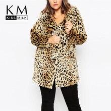 Kissmilk 2016 Women Plus Size Leopard Fur Side Pockets 3XL 4XL 5XL 6XL Big Large Size Vintage Elegant Warm Coat
