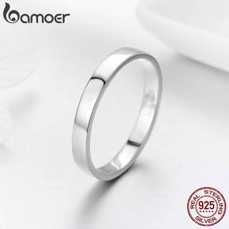 BAMOER คุณภาพสูง 925 แหวนเงินแท้รอบแหวนนิ้วมือผู้หญิงหมั้นเครื่องประดับของขวัญ SCR343