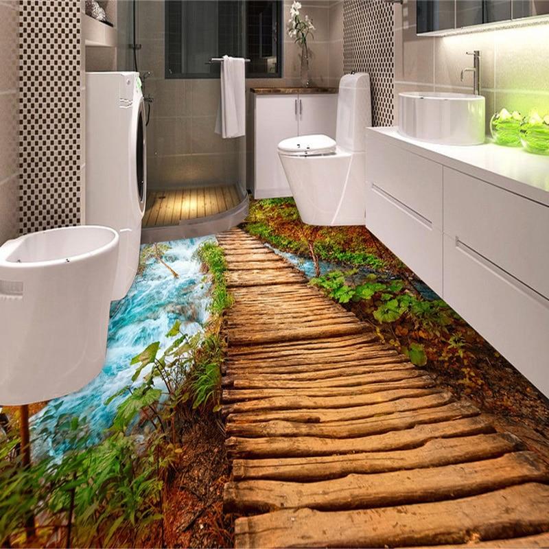 PVC Self Adhesive Waterproof 3D Floor Tiles Wall Paper