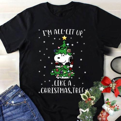 Lit Up Like A Christmas Tree.Us 13 04 13 Off Sn00py I M All Lit Up Like A Christmas Tree Gift T Shirt Black Cotton Men S 3xl Simple Short Sleeved Cotton T Shirt Top Tee In