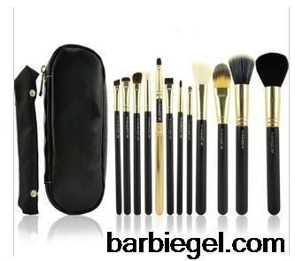 New Famous Brand 12PCS/Set Professional Makeup Brushes Set with Black Leather Case Cosmetic Brush Tool Kits