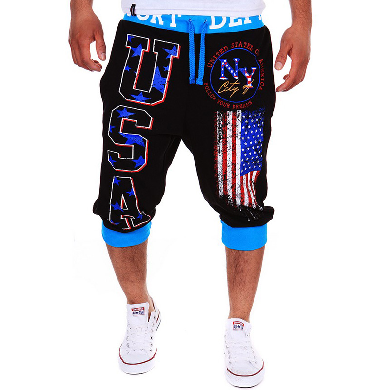 2017 Mens Summer USA American Flag Shorts Hip Hop Fitness Shorts Harem Sweat Trousers Short Homme Casual Bermuda 13DK01