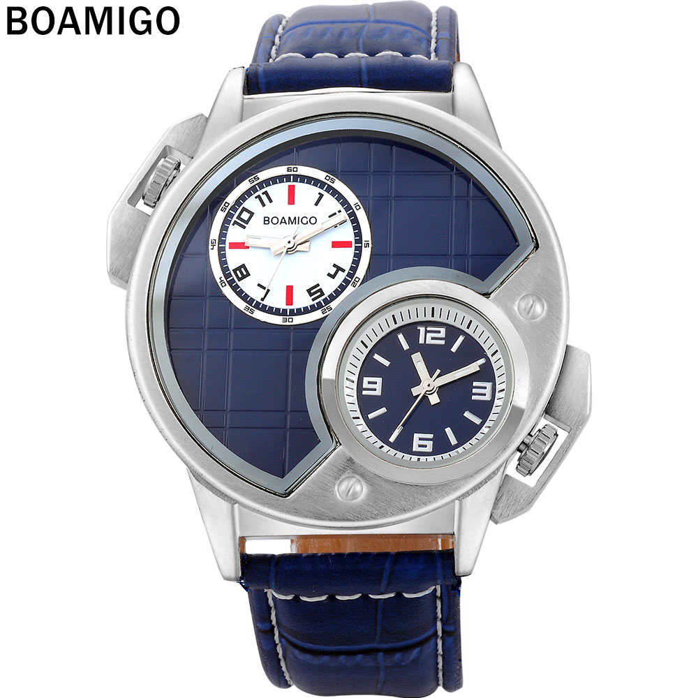 Boamigo brand men watches fashion casual quartz watch dual time clock blue dials arabic numbers for Casual watches