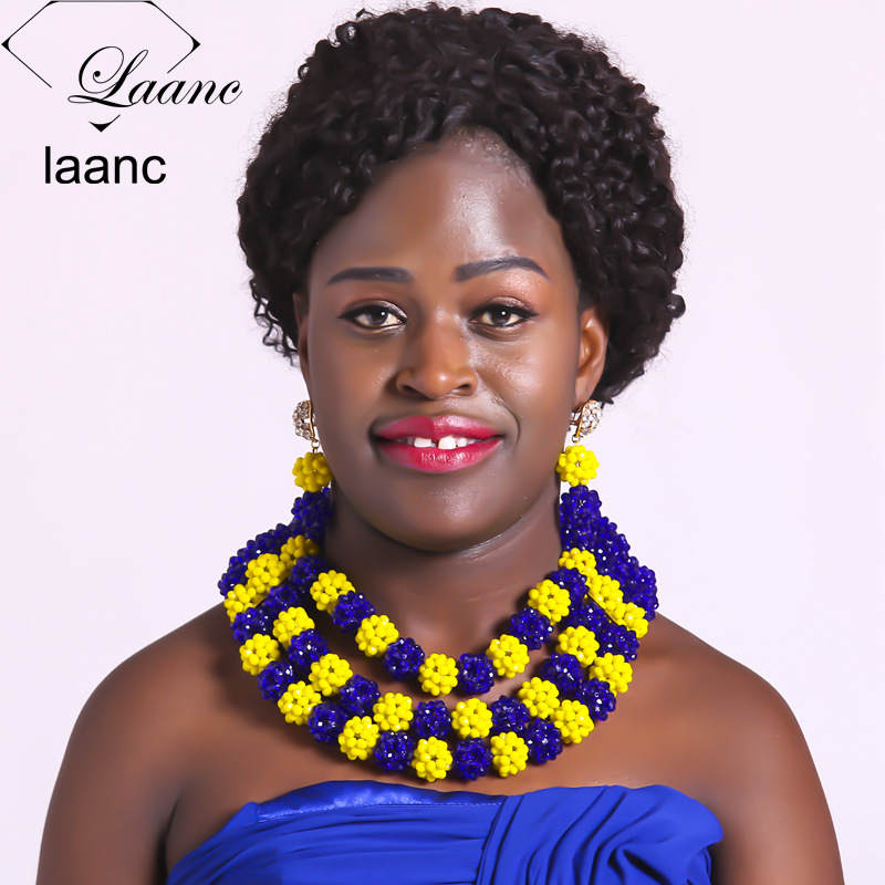 Laanc Yellow and Royal Blue Crystal Jewelry Set African Wedding Nigerian Beads Costume Women Necklace AL370 royal blue balls necklace nigerian wedding african beads jewelry set crystal beads women costume jewelry free shipping abf600