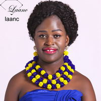 Laanc Yellow and Royal Blue Crystal Jewelry Set African Wedding Nigerian Beads Costume Women Necklace AL370
