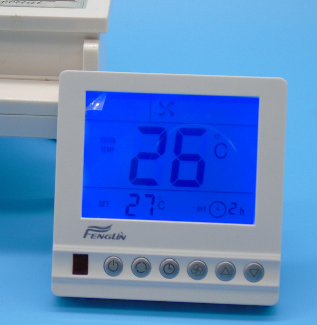 Room Thermostat AC220V with 3-speed fan coil and motorized valve conrol Large LCD
