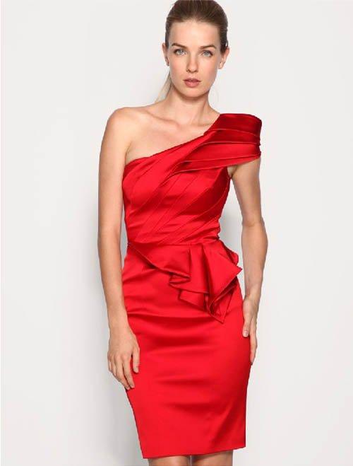 Red Formal Evening Dress One Shoulder Ruchedwomens Evening Gowns