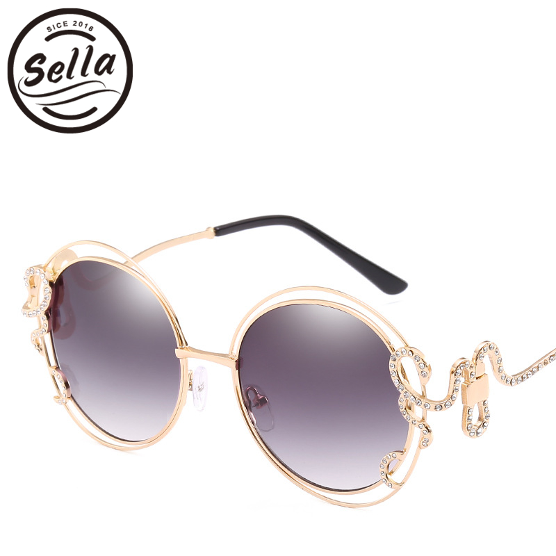 2018 New Arrival Sexy Ladies Luxury Brand Designer Round Sunglasses Oversized Hollow Out Gradient Lens Fashion Women Sun Glasses