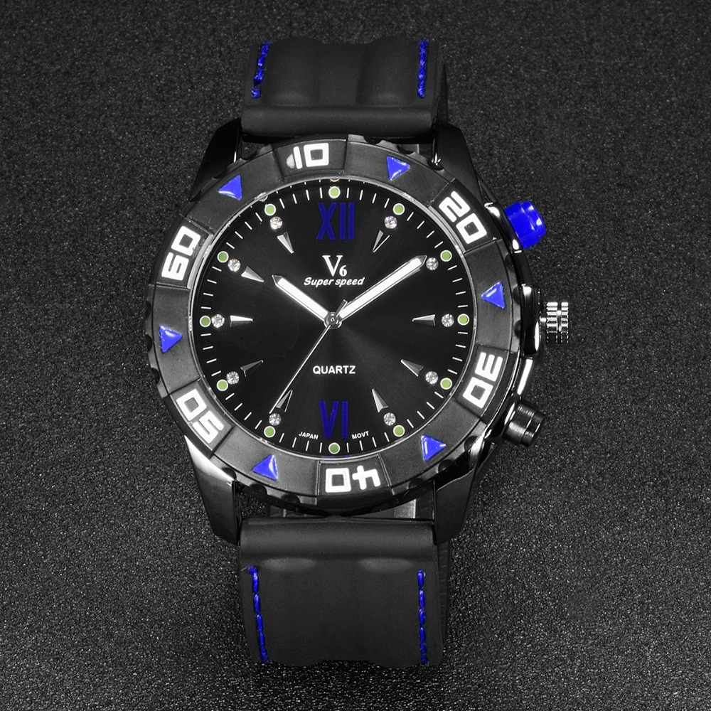 V6 Mens Watches Top Brand Luxury Silicone Sports Mens Watches Stainless Steel Dial Fashion Casual Watch Black relogio masculino weide popular brand new fashion digital led watch men waterproof sport watches man white dial stainless steel relogio masculino