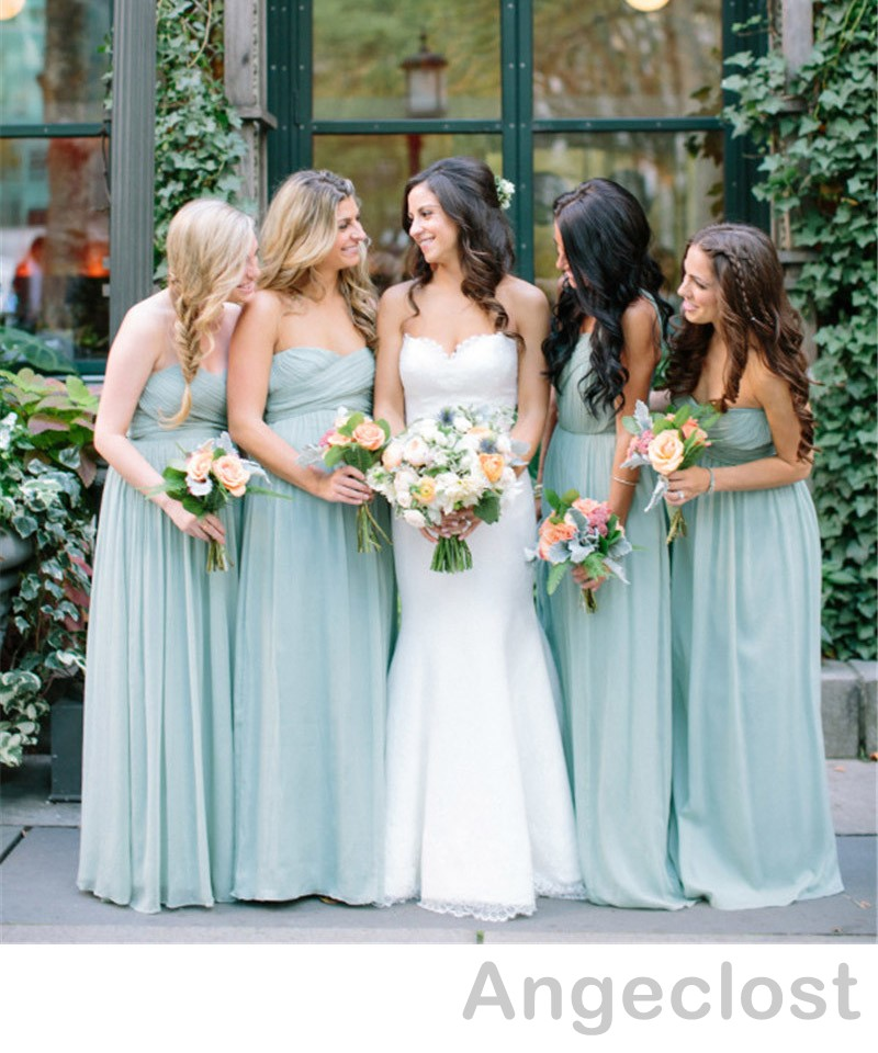 098696e149 2017 Dusty Blue Bridesmaid Dresses Long Sweetheart Off Shoulder Pleated  Country Beach Plus SizeWedding Guest Party Gowns-in Bridesmaid Dresses from  Weddings ...
