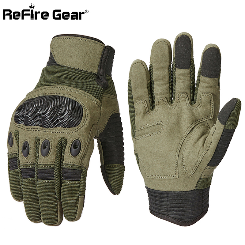 ReFire Gear Army Military Tactical Gloves Men Paintball Airsoft Carbon Knuckle Full Finger Glove Anti-Skid Bicycle Combat Mitten