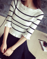 Free Shipping 2016 New Arrival Sweet Ruffles Stripe Half Sleeve Collect Waist Woman Knitting Sweater