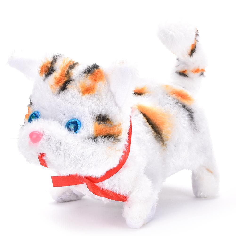 1PCS Electric Cat Toy Cute Sound Walking Plush Electronic Pets Children Kids Educational Toy Random Color