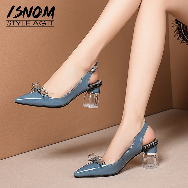 ISNOM Transparent Pvc Sandals Women Summer High Heels Sandals Patent Leather Shoes Female Leopard Wedding Fashion
