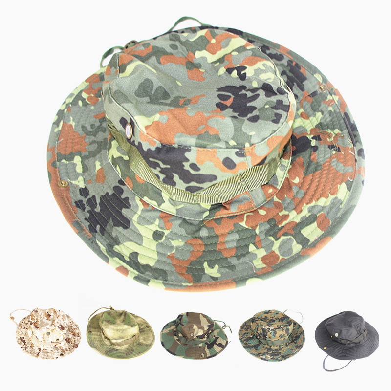 9bb1e484b2d8b8 Hunting Military Bonnie Hats Men Women Sports Camouflage Climbing Camping  Fishing Hat Travel Adjustable Cotton Fisherman