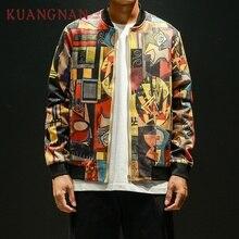 KUANGNAN Japan Style Hip Hop Bomber Jacket Men Clothing 2018 Japanese Streetwear Men Jacket Coat 5XL Mens Jackets And Coats