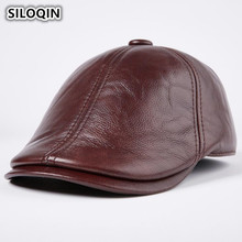 SILOQIN Winter Mens Genuine Leather Hats With Earmuffs Warm Thickened Cowhide Berets For Adult Men Brand Trends Dad Hat