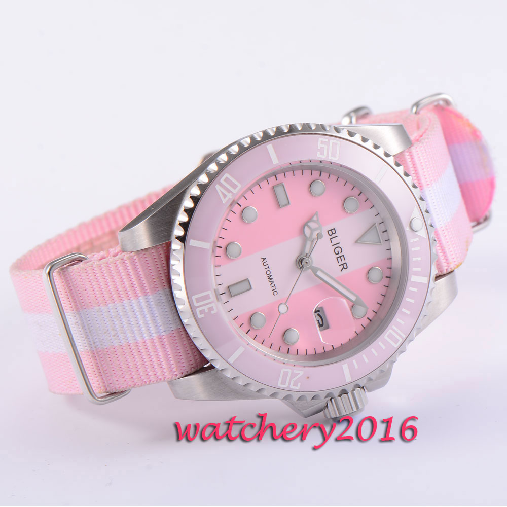 40mm Bliger pink & white dial ceramic bezel sapphire glass top brand luxury automatic mechanical movement military Men's watch