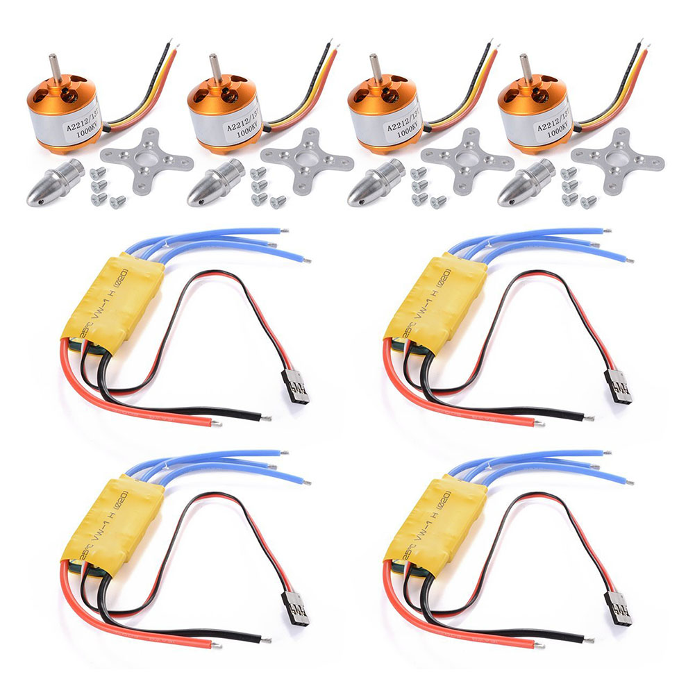 4pcs A2212 1000KV Brushless Motor + 4 pcs 30A ESC for FPV DJI F450 550 Multicopter Quadcopter RC132 4set lot a2212 1000kv brushless outrunner motor 30a esc 1045 propeller 1 pair quad rotor set for rc aircraft multicopter
