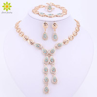 Blue Brown Red Purple Crystal Jewelry Sets For Women Fashion Wedding Water Drop Necklace Earring Bracelet