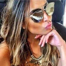 women brand designer sunglasses metallic frame shades mirror unique round glasses thin wire glasses test1