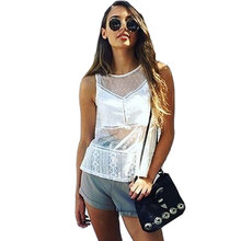 Women Sleeveless Blouse Sexy Lace Patchwork Shirt Blusa Feminina Hollow Out See Through White Plus Size Pops Summer Beachwear