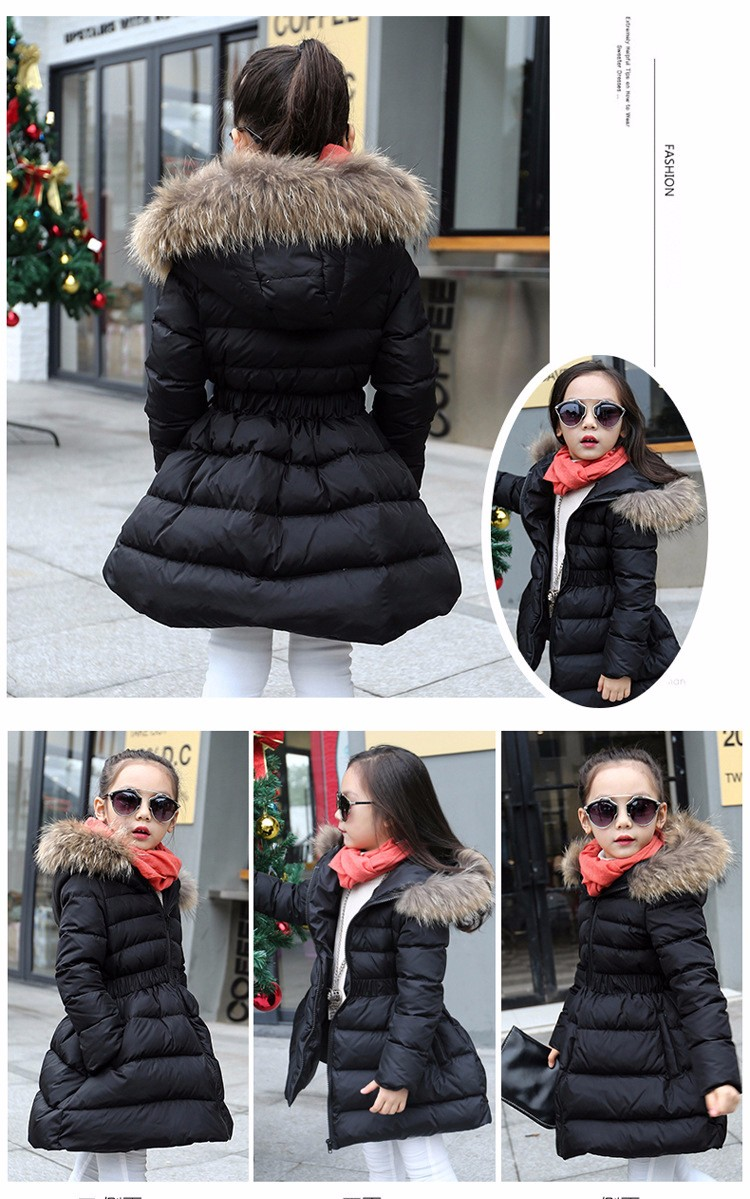2818dcebe4fc hooded children padded jacket warm long coats girls outerwear thick autumn  winter red black clothing for ...