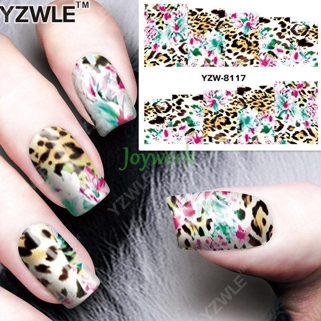 Water sticker for nails art decorations sliders flowers with leopard nail  stickers design decals manicure lacquer - Water Sticker For Nails Art Decorations Sliders Flowers With Leopard