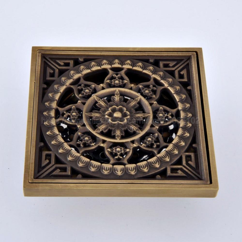 Antique Brass Bathtub Shower Drainer Floor Strainer 10x10cm Square Invisible Bathroom Floor Drain Waste Grate zhr067