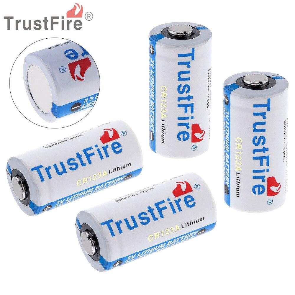 4 pièces TrustFire 3V 16340 CR123A batterie 1400mAh capacité réelle batterie au Lithium pour lampe de poche LED caméra de phare