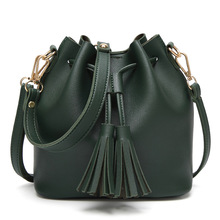купить String Crossbody Bags for Women Mobile Phone Bag Bucket Shoulder Package Tassels Party Shopping Work PU Leather Bag Green дешево