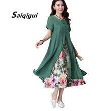 157c49e5a8c14 Saiqigui 2019 yaz elbisesi kadın Çin Tarzı rahat Gevşek Pamuk Hattı elbise  Baskı o-boyun